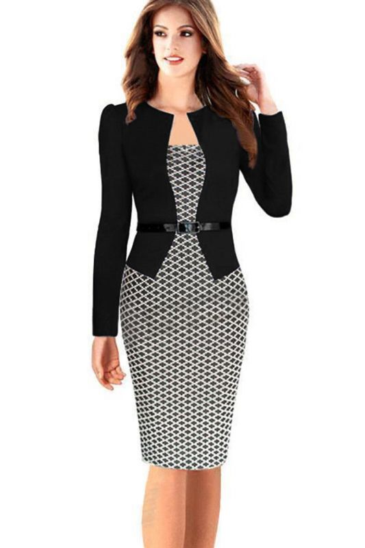 Business Party Bodycon One-piece Dress Women Colorblock Wear to Work