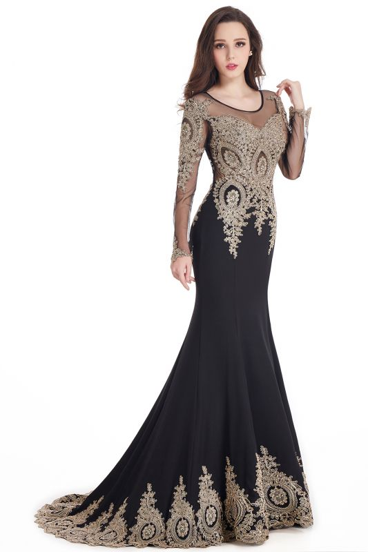 Crystal | Sexy Mermaid Lace Appliques Long Sleeves Prom Dresses with Beadings
