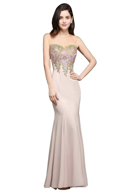 Mermaid Floor Length Pearl Pink Evening Dresses with Appliques