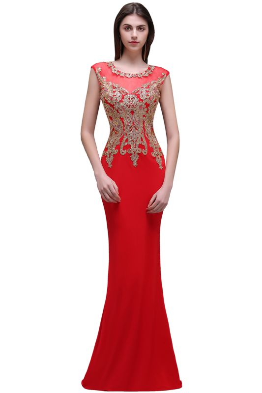 Sheath Round Neck Floor-Length Red Prom Dresses With Applique