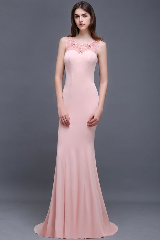 Mermaid Sheer Floor-Length Long Prom Dresses With Applique