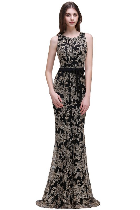 Sheath Round Neck Floor-Length Lace Evening Dresses