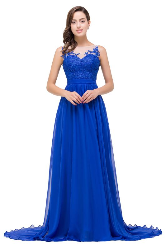 A-line Scoop-Neck Floor-length Sleeveless Chiffon Prom Dresses with Appliques