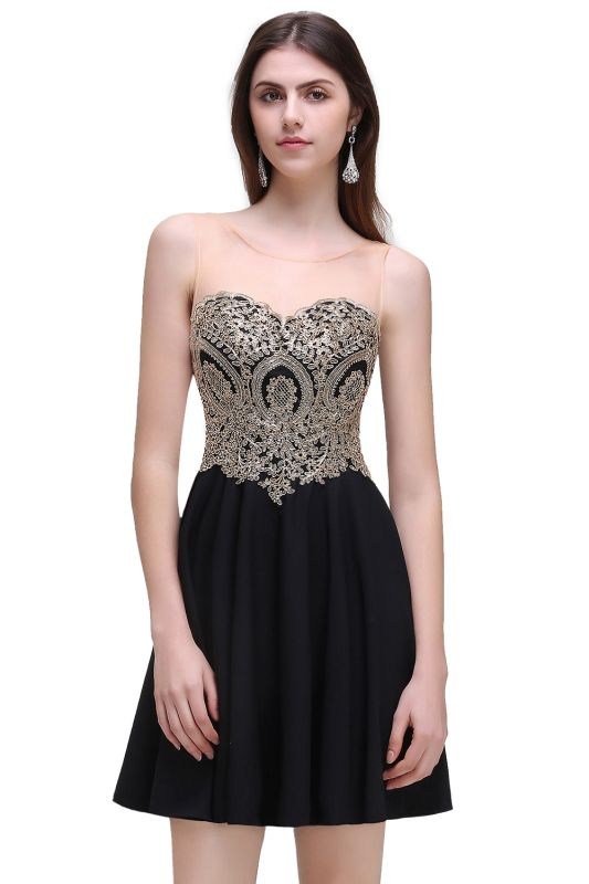 CAITLIN   A-line Short Chiffon Black Homecoming Dresses with Appliques