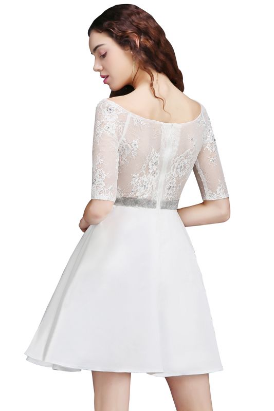 A Line Jewel White Short Sleeve Satin Homecoming Dresses With Lace