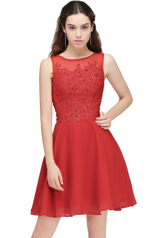 A-line Short Chiffon Red Homecoming Dresses with Lace Appliques