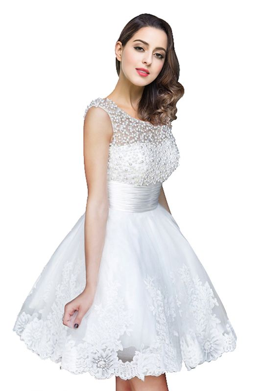 A-line Jewel Tulle Party Dress With  Beading