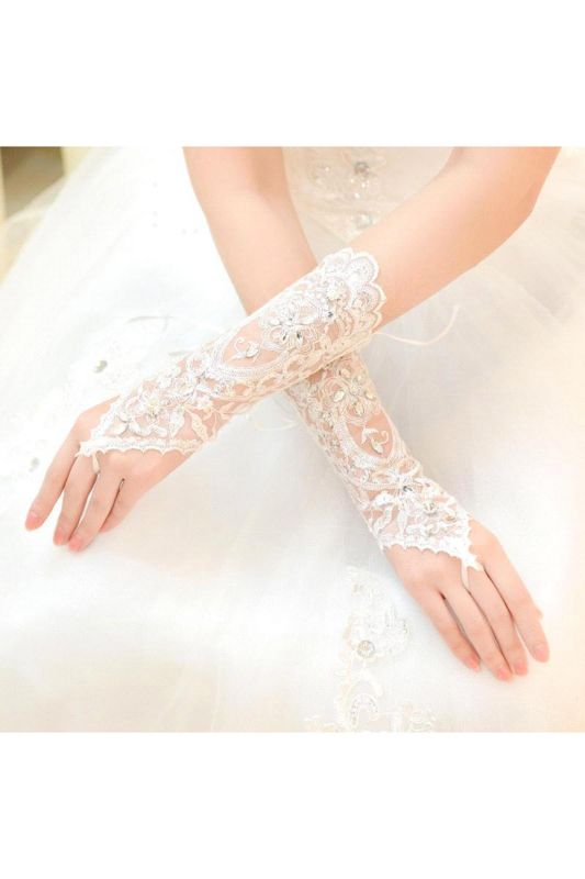 Lace Fingerless Elbow Length Wedding Gloves with Appliques