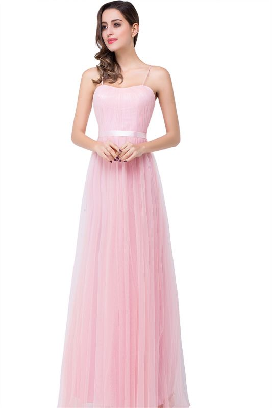 ELLIS | A-line Sweetheart Floor-length Pink Tulle Ruffles Bridesmaid Dresses