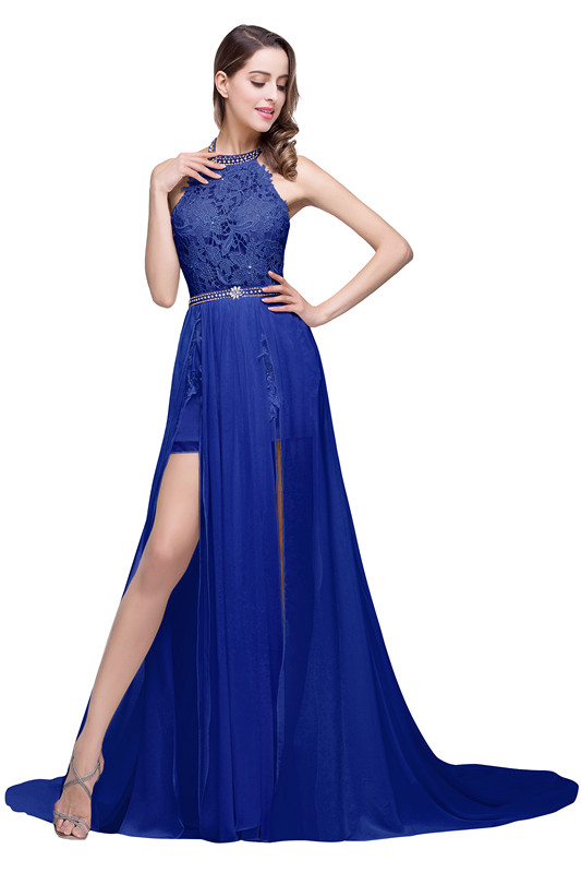 ADELE | A-line Halter Chiffon Evening Dress with Lace