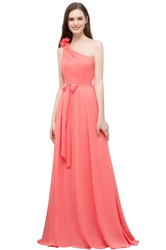 A-line One Shoulder Floor Length Chiffon Prom Dresses with Bow Sash