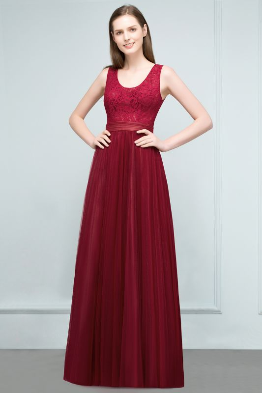 JULIANNA | A-line Scoop Long Sleevless Lace Top Burgundy Tulle Prom Dresses