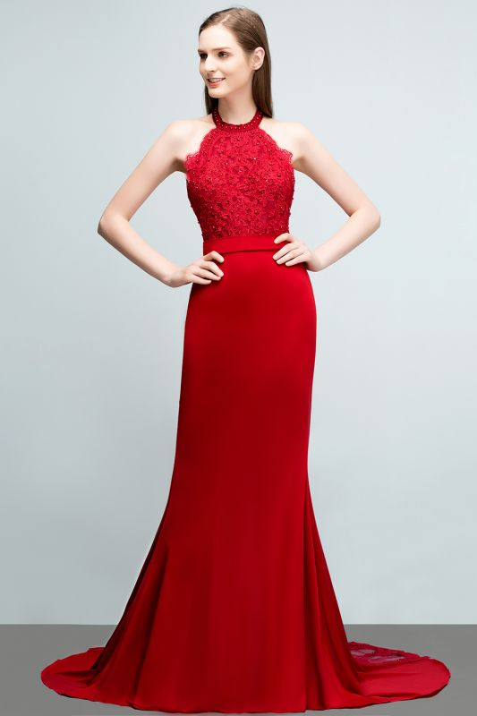 Mermaid Halter Floor Length Appliqued Beads Red Prom Dresses with Sash