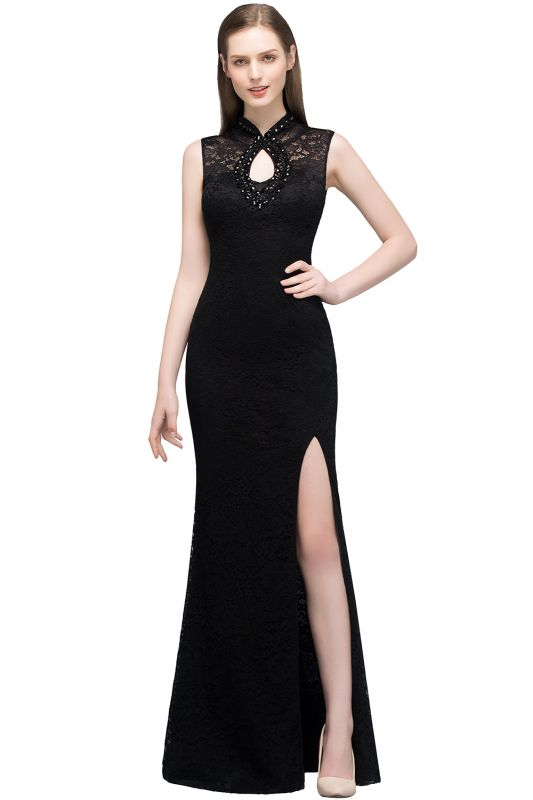 Mermaid Sleeveless Keyhole Neckline Floor Length Lace Prom Dresses with Crystals