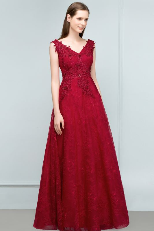 JUDITH   A-line V-neck Long Sleeveless Lace Appliques Prom Dresses with Crystals