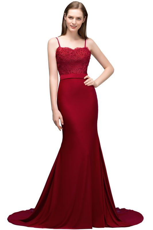 Mermaid Spaghetti Sweetheart Long Burgundy Appliques Prom Dresses with Beads