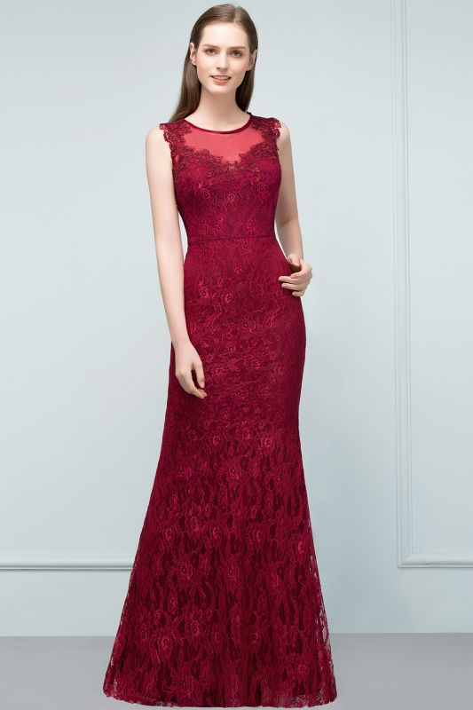Mermaid Floor Length Sleeveless Lace Burgundy Prom Dresses