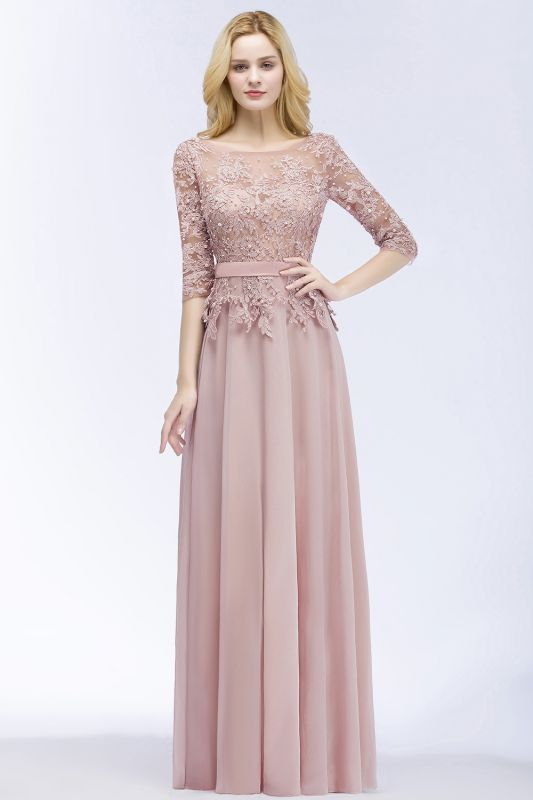 PAMELA | A-line Floor Length Half Sleeves Appliques Bridesmaid Dresses with Sash