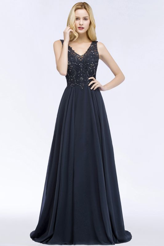 PATRICIA | A-line V-neck Sleeveless Long Appliqued Chiffon Prom Dresses with Crystals