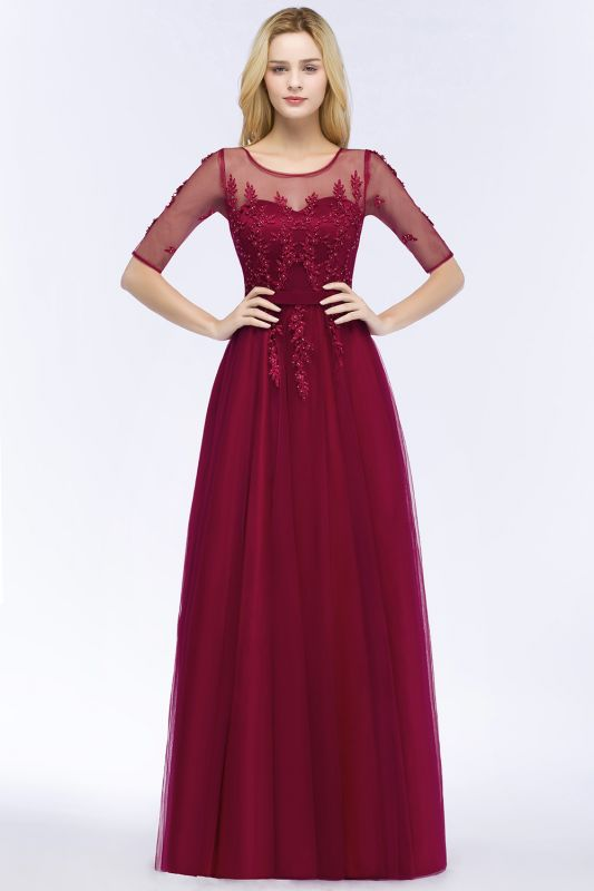QUEENIE | A-line Floor Length Appliques Tulle Bridesmaid Dresses with Sleeves