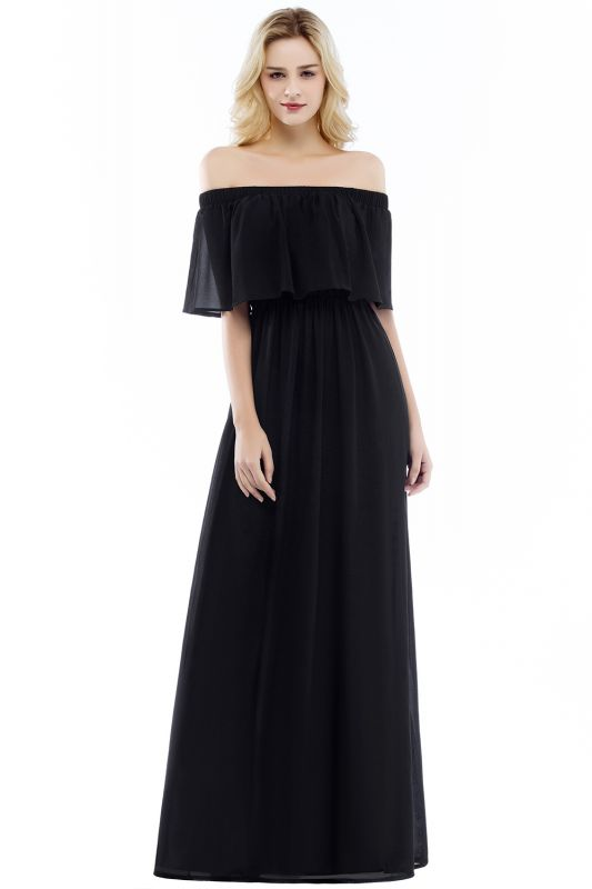 Hera | Off the shoulder Black Long Evening Dress - Clearance Sale