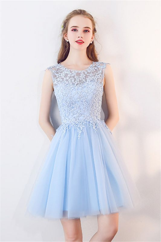 A-line Sleeveless Short Appliqued Top Tulle Homecoming Dresses