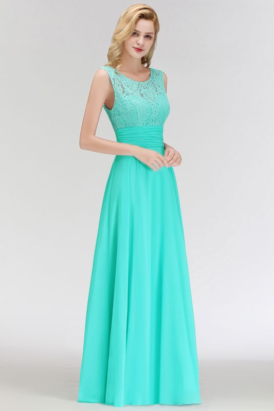 MACY | A-line Floor Length Lace Top Sleeveless Chiffon Bridesmaid Dresses