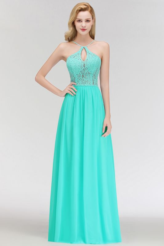 MADELEINE | A-line Keyhole Neckline Lace Top Long Spaghetti Bridesmaid Dresses