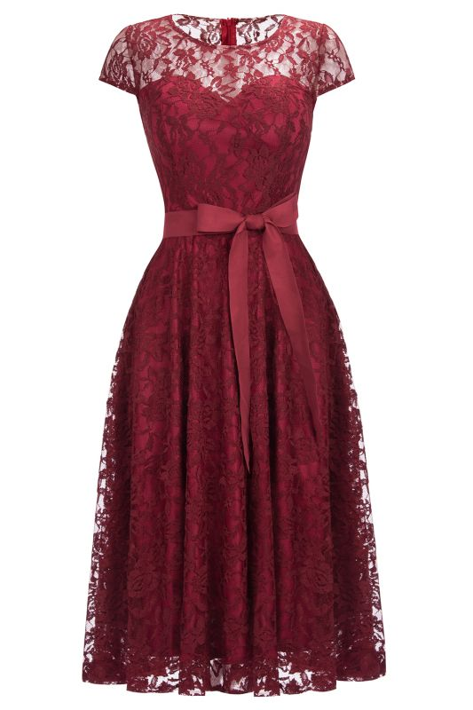 Burgundy Lace Short Sleeves A-line Dresses with Bow
