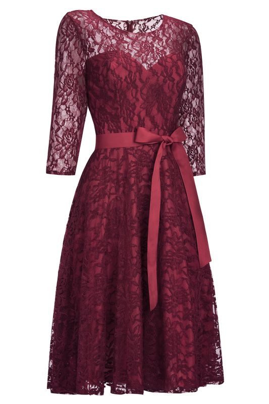 Vintage A-line Burgundy Lace Dresses with Sleeves
