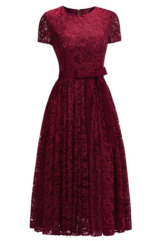 Short Sleeves Seath Red Lace Dresses with Ribbon Bow