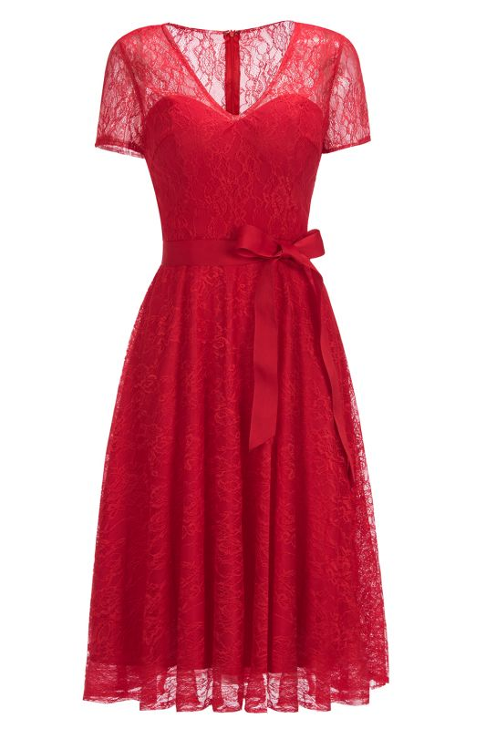 V-neck Short Sleeves Lace Dresses with Bow Sash