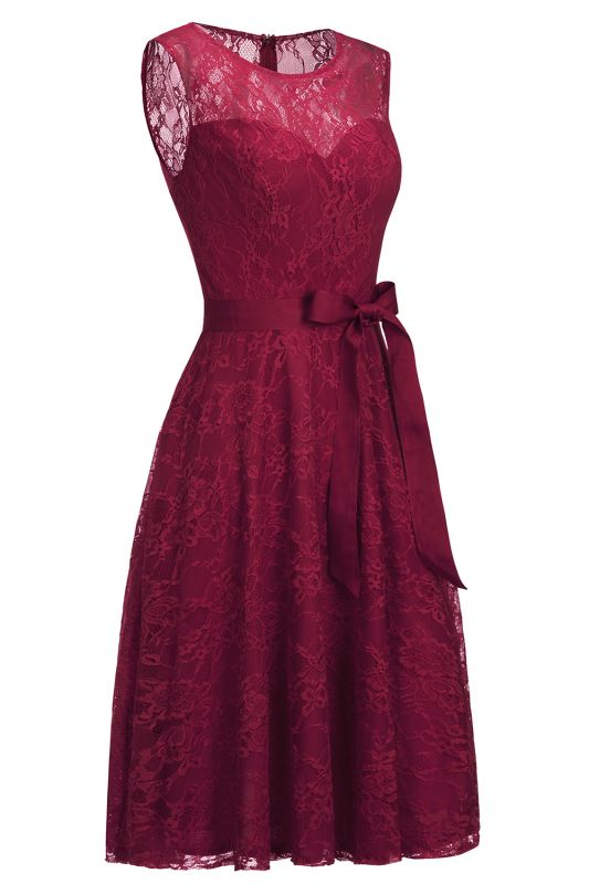 A-line Sleeveless Burgundy Lace Dresses with Bow