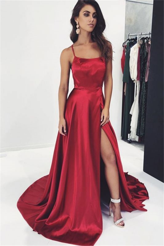 Sexy A-Line Spaghetti-Straps Side-Slit Burgundy Prom Dress