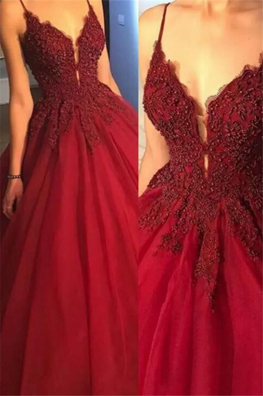 Gorgeous Spaghetti Strap Beads Lace Red Prom Dresses
