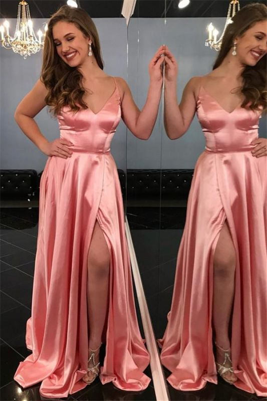 Spaghetti-Straps Sleeveless Side-Slit A-Line Pink Prom Dresses