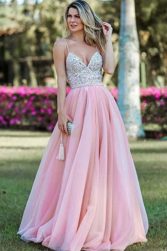 Spaghetti-Straps Appliques Backless A-Line Pink Prom Dresses