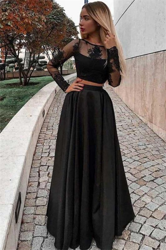 A-Line Tulle Long Sleeves Two-Pieces Black Sheer Prom Dresses