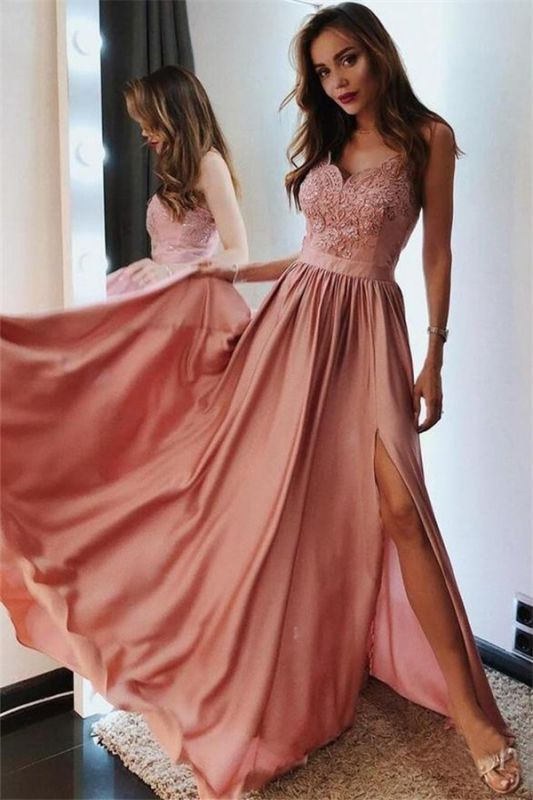 Appliques Spaghetti-Straps A-Line Prom Dresses Sleeveless Side-Slit