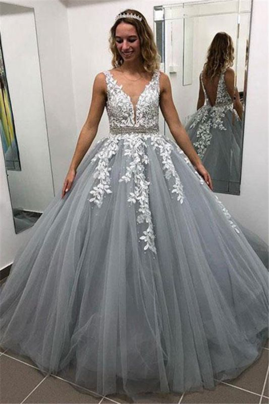 Elegant Appliques Simple Ball Gown Crystal Evening Dresses