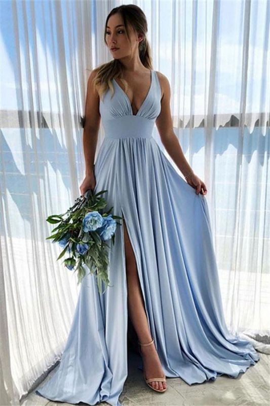 Straps V-Neck Side-Slit A-Line Sky Blue Prom Dresses