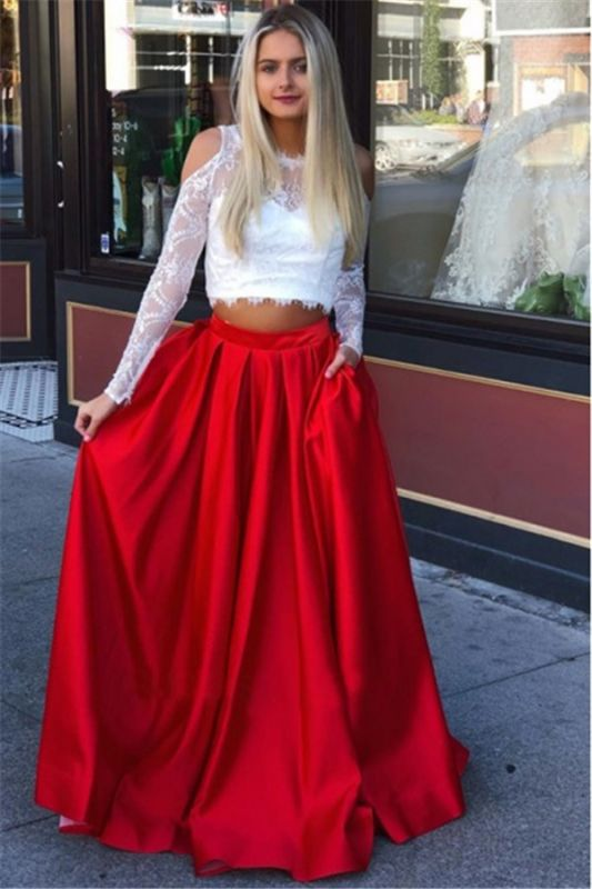 A-Line Two-Pieces Lace Long-Sleeves Prom Dresses