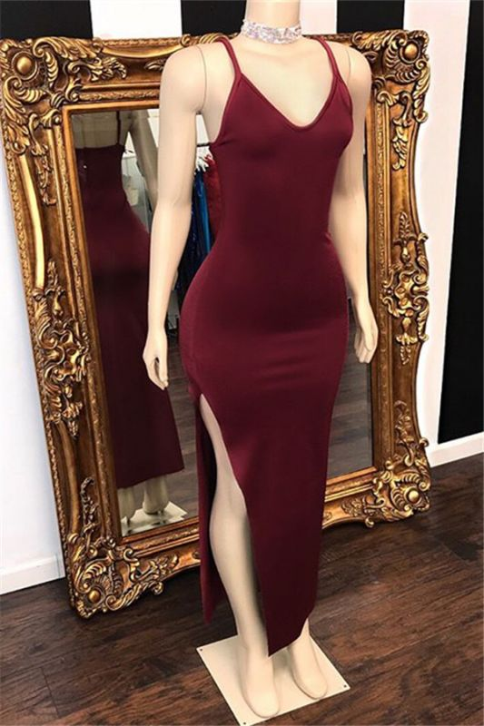 Spaghetti-Straps Side-Slit Burgundy Prom Dresses V-Neck