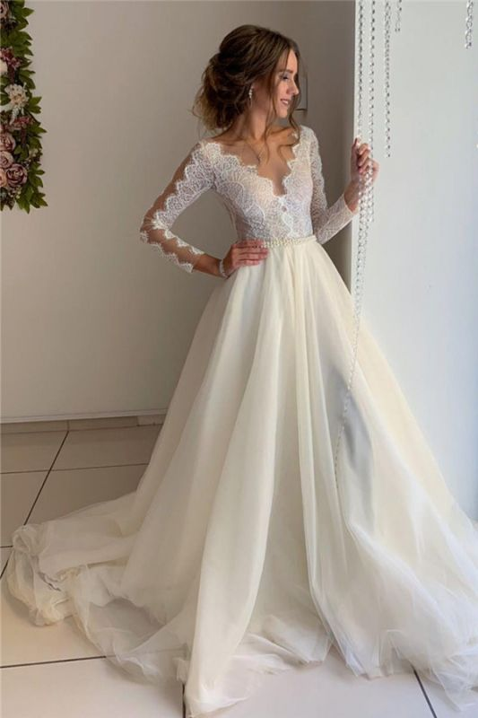 A-Line Lace V-Neck Long Sleeves Prom Dresses