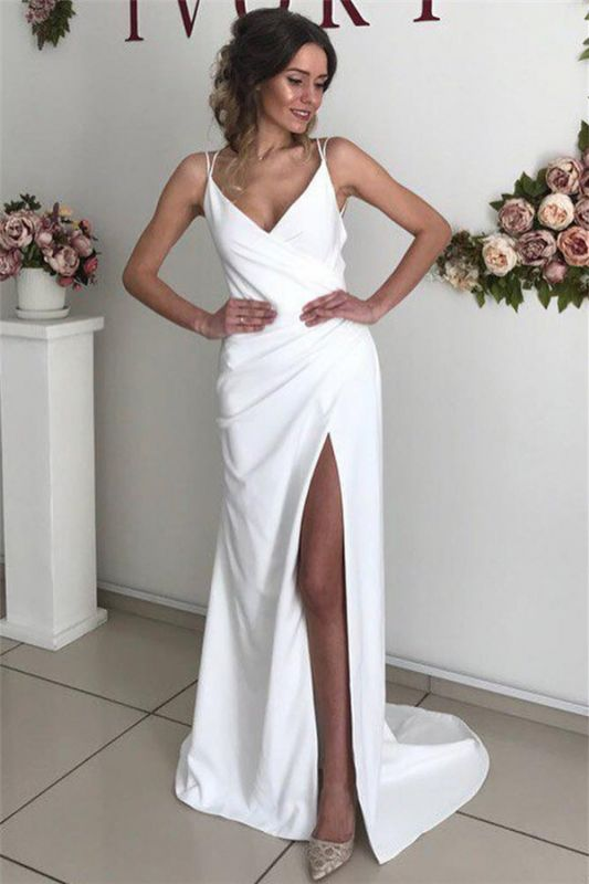 Sexy Spaghetti-Straps Side-Slit Backless Simple Prom Dresses