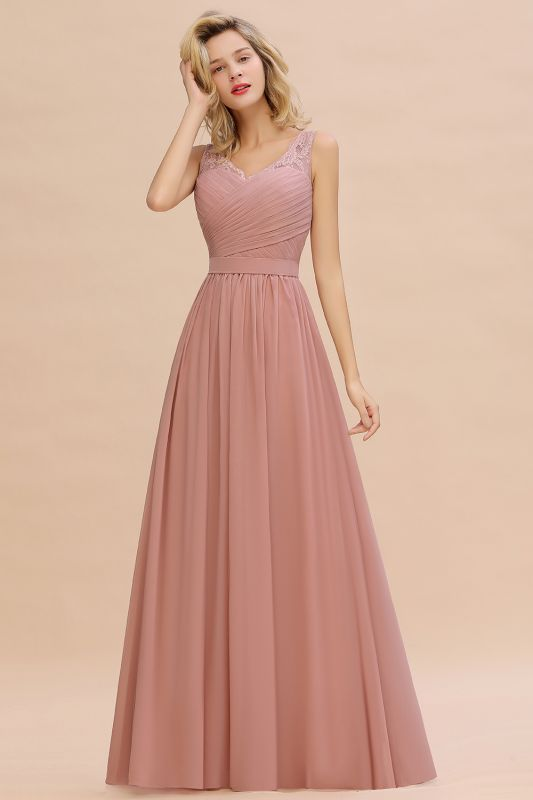Beautiful V-neck Long Evening Dresses with soft Pleats | Sexy Sleeveless V-back Dusty Pink Womens Dress for Prom
