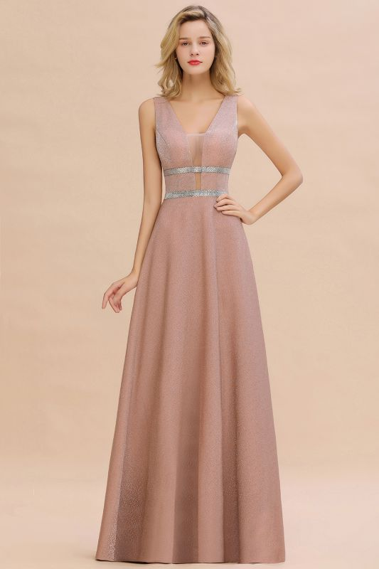Sparkly Deep V-neck Long Evening Dresses with Shining Belt | Elegant Sleeveless V-back Pink Formal Dress
