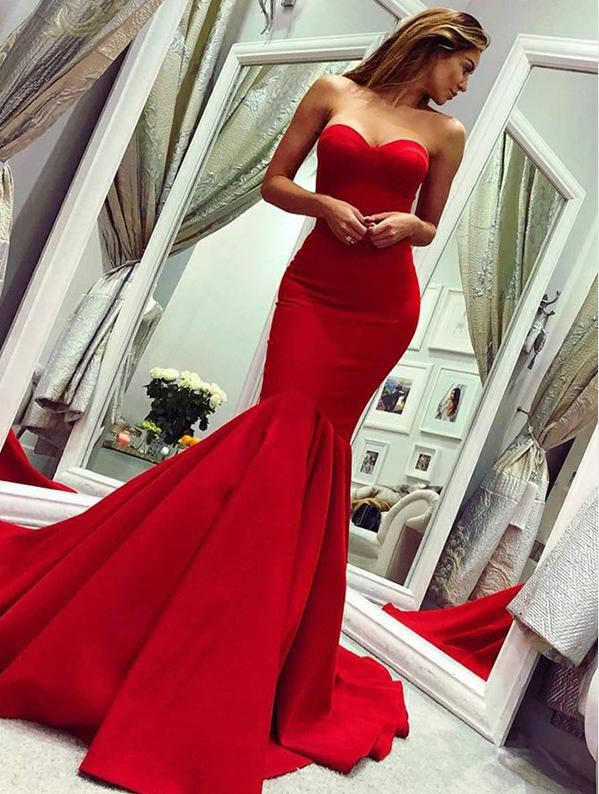 Sexy sweetheart mermaid Red prom dress with train