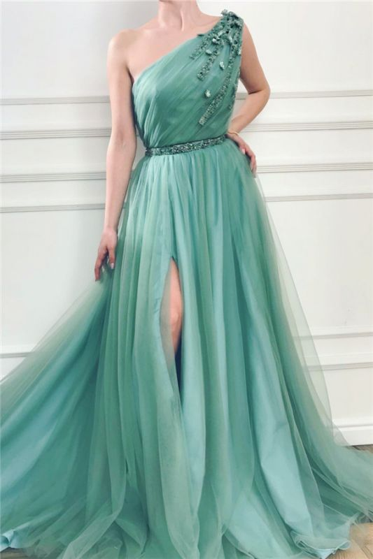 Sexy Front Slit Long One Shoulder Green Tulle Evening Dresses