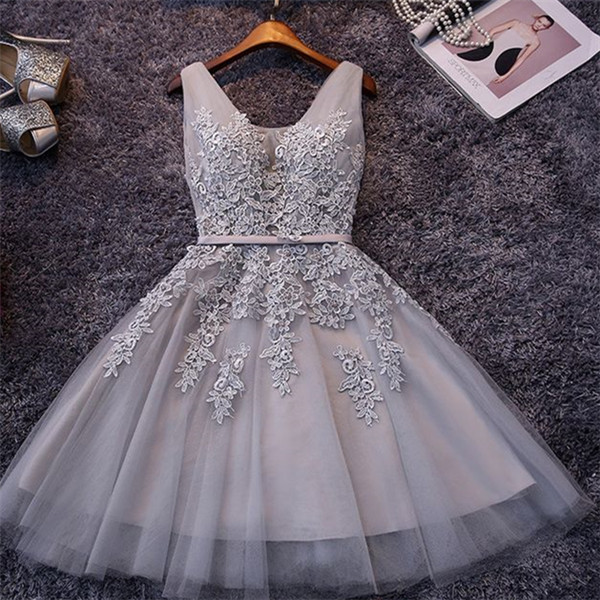 ADDILYNN | A-line Knee-length Tulle Prom Dress with Appliques
